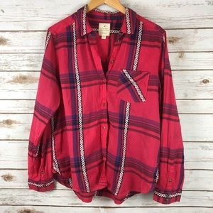 AEO Vintage Boyfriend Blanket Plaid Shirt Sz L